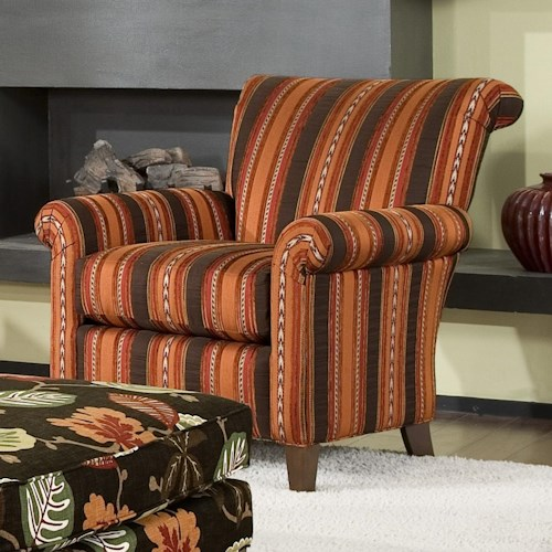 Smith Brothers Accent Chairs and Ottomans SB Transitional Stationary Chair with Rolled Back