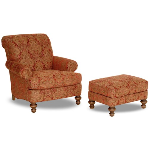 Smith Brothers Accent Chairs and Ottomans SB Upholstered Chair & Ottoman with Turned Legs