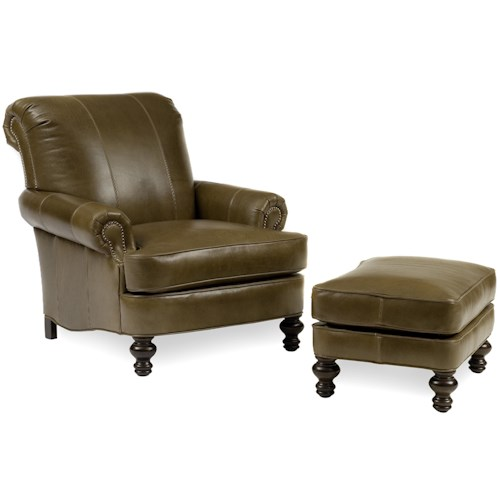 Peter Lorentz Accent Chairs and Ottomans SB Upholstered Chair & Ottoman with Turned Legs