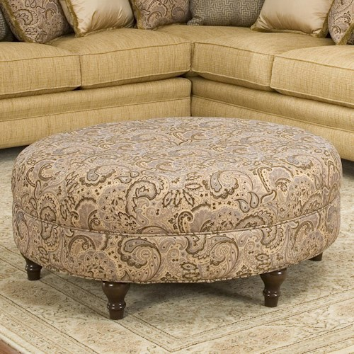 Smith Brothers Accent Chairs and Ottomans SB Round Traditional Styled Ottoman