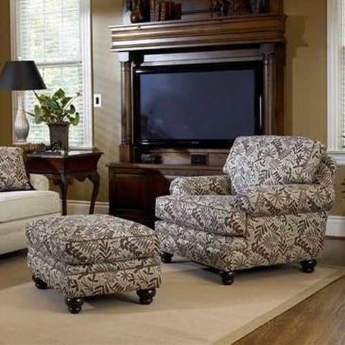 Smith Brothers Build Your Own (5000 Series) Upholstered Chair & Ottoman with Turned Legs