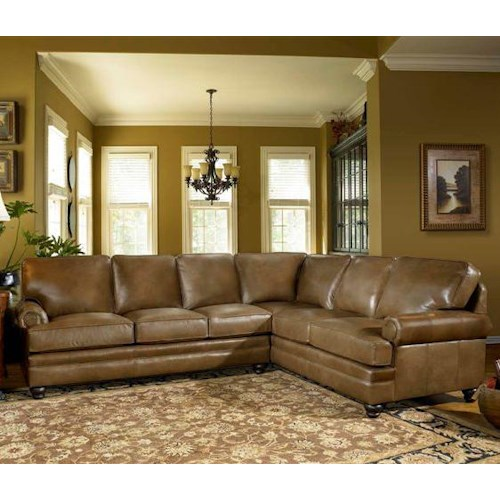 Smith Brothers Build Your Own (5000 Series) Leather Sectional with Panel Arm & Turned Legs