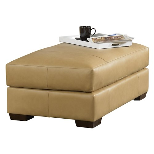 Smith Brothers Build Your Own (8000 Series) Contemporary Ottoman with Top Stitch Tailoring