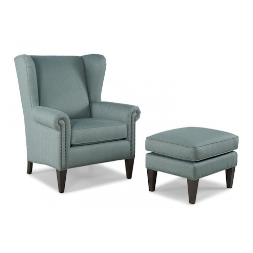 Peter Lorentz Smith Brothers 505 Wing Back Chair & Ottoman Set
