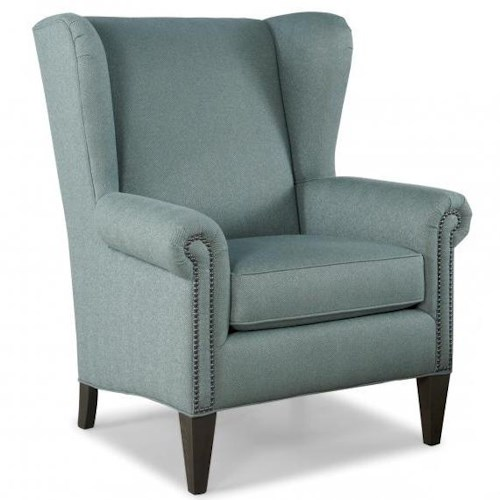 Peter Lorentz Smith Brothers 505 Traditional Wing Back Chair w/ Nailhead Trim