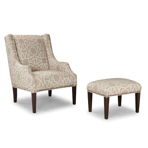 Peter Lorentz Smith Brothers 513 Upholstered Chair and Ottoman with Tapered Wood Legs