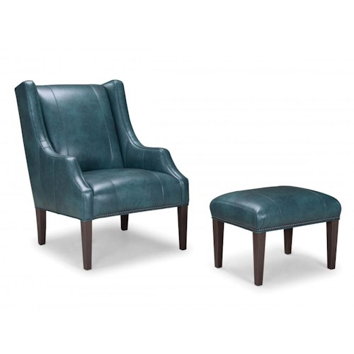 Peter Lorentz Smith Brothers 513 Leather Upholstered Chair and Ottoman with Tapered Wood Legs