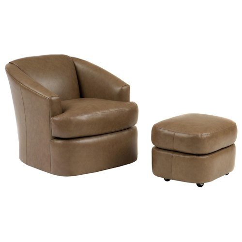 Peter Lorentz Smith Brothers Contemporary Swivel Barrel Chair and Ottoman with Casters