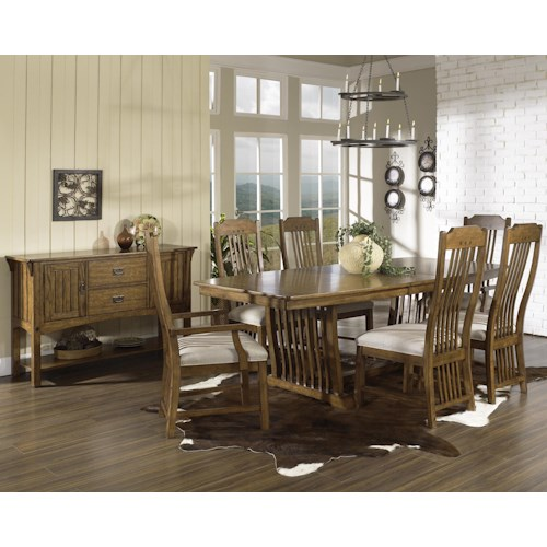 Morris Home Furnishings Craftsman 7 Pc. Trestle Table & Chair Set
