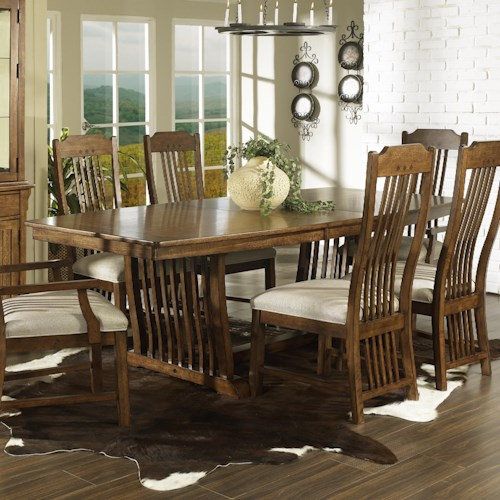 Morris Home Furnishings Craftsman Rectangular Trestle Dining Table