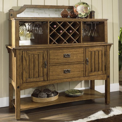 Morris Home Furnishings Craftsman Dining Server with Open Hutch