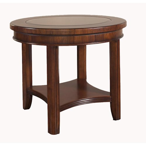 Morris Home Furnishings Rhythm  Round End Table with Storage Shelf
