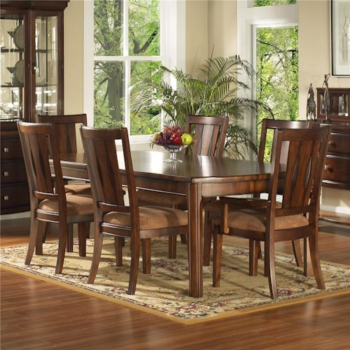 Morris Home Furnishings Rhythm  7 Piece Rectangular Leg Table & Chair Set