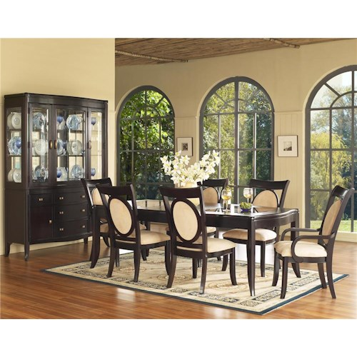 Morris Home Furnishings Signature 7 Piece Glass Top Table & Upholstered Chair Set