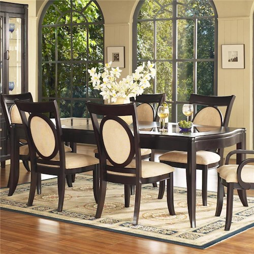Morris Home Furnishings Signature Glass Top Leg Dining Table