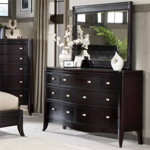 Morris Home Furnishings Signature 7 Drawer Dresser & Landscape Mirror Combo