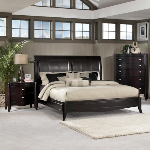 Morris Home Furnishings Signature Queen Upholstered Bicast Sleigh Bed