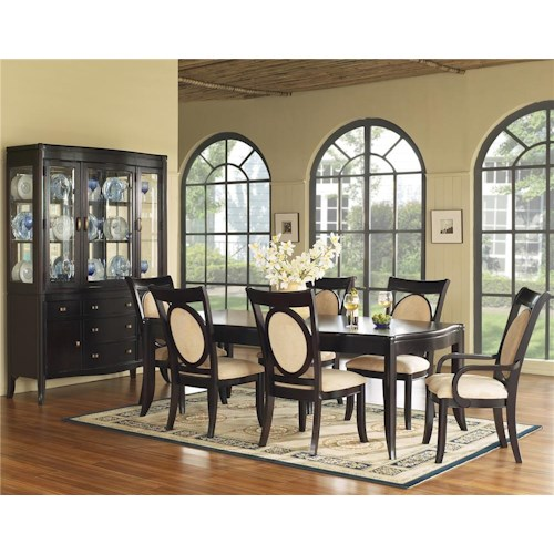 Morris Home Furnishings Signature 7 Piece Solid Top Dining Table & Upholstered Chair Set