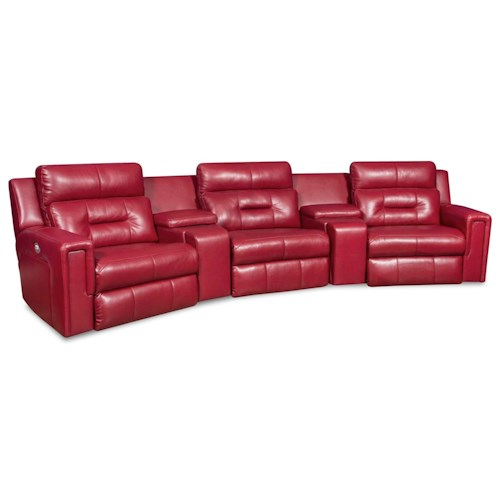 Design to Recline Excel Theater Seating Sectional with Three Seats