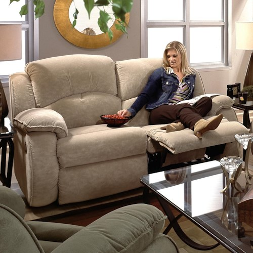 Southern Motion Cagney Powerized Double Reclining Loveseat with Pillow Arms