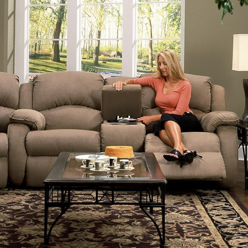 Design to Recline Cagney Comfy and Convenient Console Sofa with Reclining Chairs and Cup-Holders