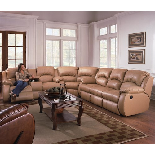 Southern Motion Cagney Sectional Sofa with Recliner