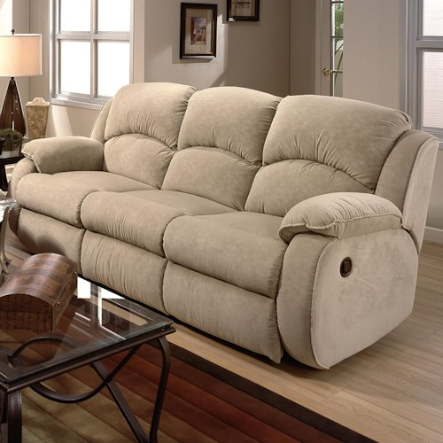 Design to Recline Cagney Powerized Double Reclining Sofa with Pillow Arms