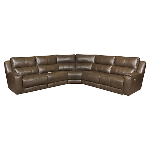 Southern Motion Dazzle Reclining Sectional Sofa with 5 Seats and Power Headrests