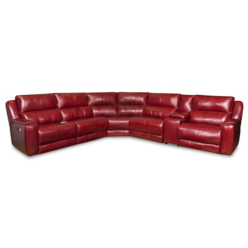 Southern Motion Dazzle Sectional Sofa with 5 Seats and Cup Holders and Power Headrests