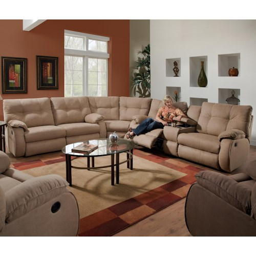 Southern Motion Dodger 3 Piece Reclining Sectional Sofa with Console Storage