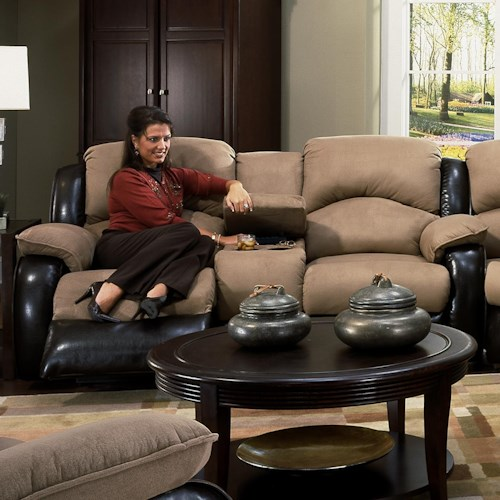 Design to Recline Jolson Power Reclining Console Cup-Holder Sofa with Contemporary Style