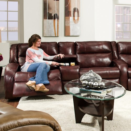Southern Motion Maverick Power Console Sofa with Contemporary Style
