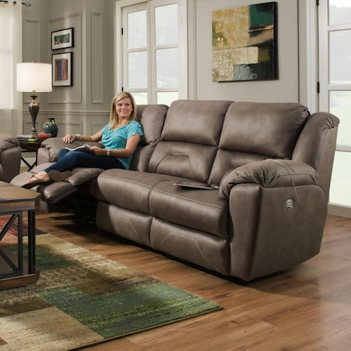 Southern Motion Pandora Reclining Sofa with 2 Seats that Recline and Power Headrests