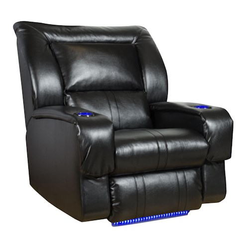 Southern Motion Roxie Lay-Flat Recliner with LED Lights & Cup-Holders