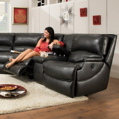Southern Motion Shazam  Two Seat Power Reclining Console Sofa with Cup Holders and Storage Space