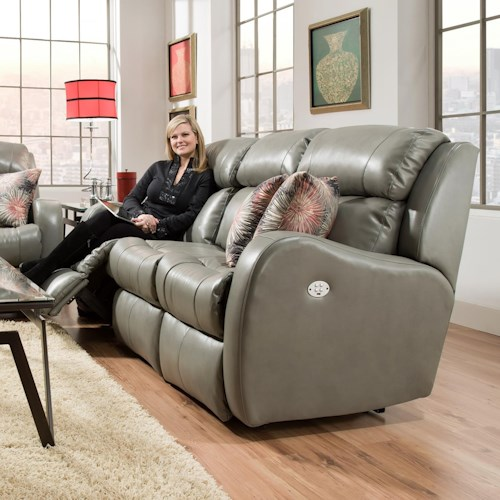Southern Motion Siri Double Reclining Sofa with Power Headrests and Pillows