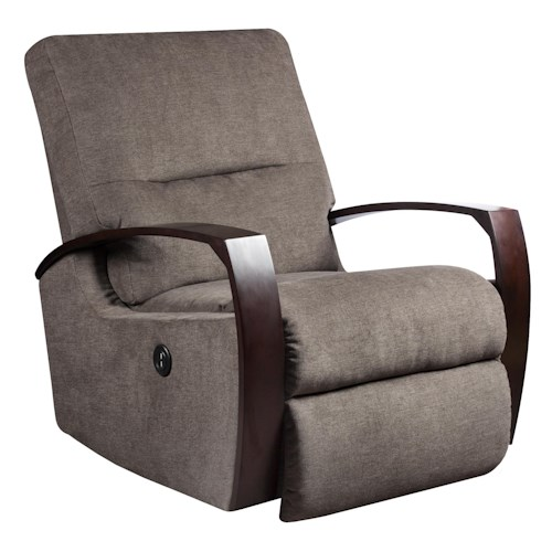 Southern Motion Recliners Swivel Rocker Recliner with Wood Arms