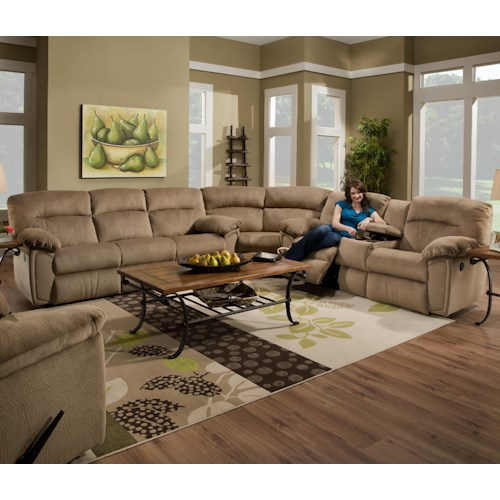 Southern Motion Splendor Collection 591 Reclining Sectional Sofa with 6 Seats (4 recline) and Cup Holders