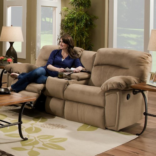 Southern Motion Splendor Collection 591 Reclining Sofa with 2 Seats and Console