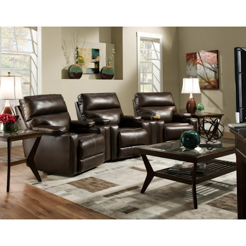 Southern Motion Tango  Theater Seating Group with 3 Lay-Flat Recliners and Cup Holders
