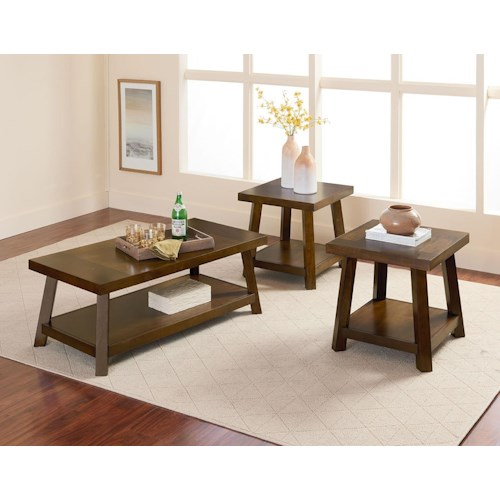 Standard Furniture Omaha Brown Cocktail Table & 2 End Tables