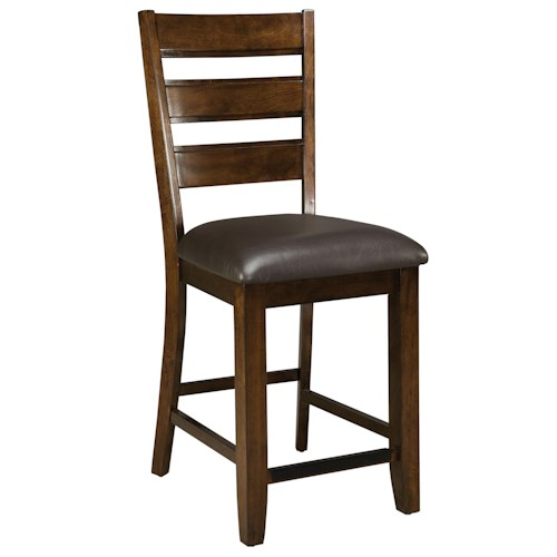 Standard Furniture Abaco Ladder Back Counter Stool with Upholstered Seat