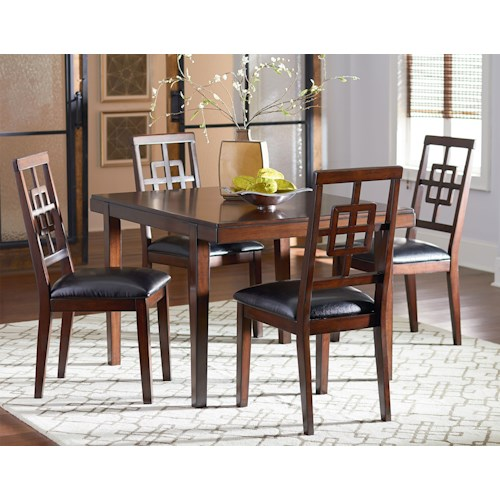 Standard Furniture Ally 5 Piece Dining Table Set with Lattice-Back Chairs