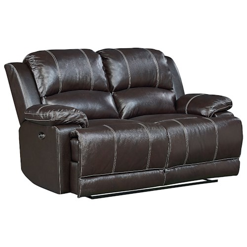 Standard Furniture Audubon Reclining Leather Loveseat
