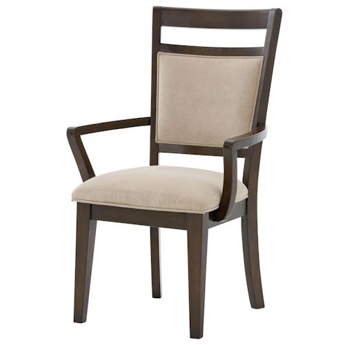 Standard Furniture Avion  Arm Chair with Upholstered Seat and Back with Ladder Back Wood Detailing