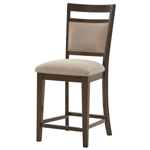 Standard Furniture Avion  Counter Height Chair with Upholstered Seat and Back with Ladder Back Wood Detailing