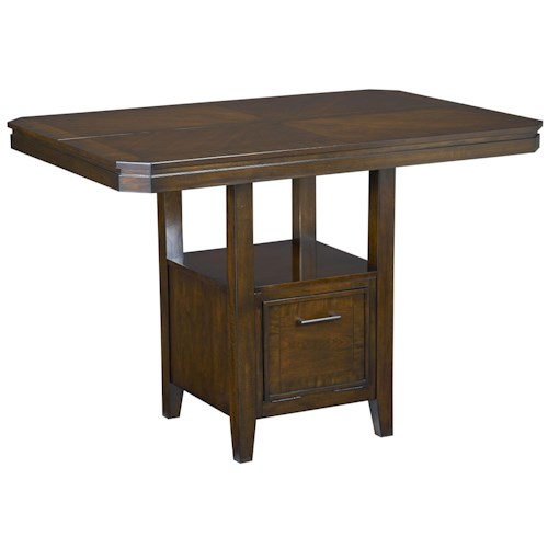 Standard Furniture Avion  Counter Height Table with Pedestal Base and Single Drawer in Cherry Finish
