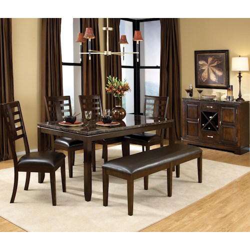 Standard Furniture Bella 6 Piece Rectangular Leg Dining Table with Ladderback Side Chairs & Brown Bench