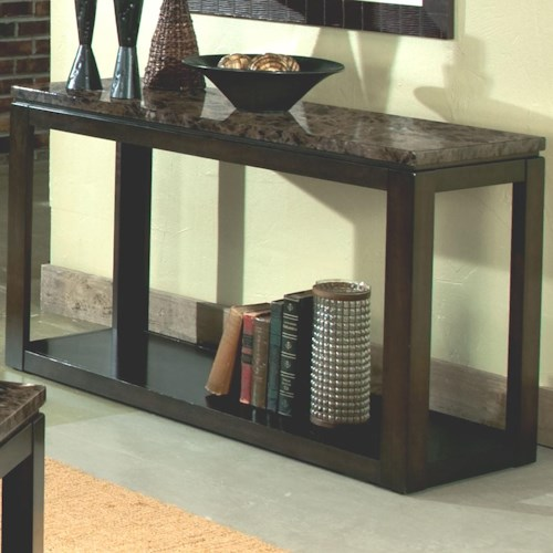 Standard Furniture Bella Sofa Table with Faux Marble Top