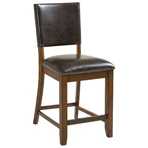 Standard Furniture Benson Upholstered Counter Height Stool with Nail Head Trim